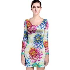 Colorful Dahlias Long Sleeve Velvet Bodycon Dress by DanaeStudio