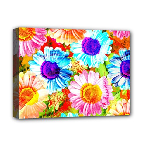 Colorful Daisy Garden Deluxe Canvas 16  X 12   by DanaeStudio
