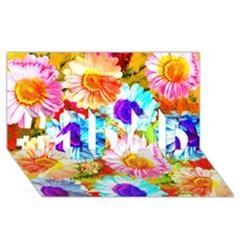 Colorful Daisy Garden #1 Dad 3d Greeting Card (8x4) by DanaeStudio
