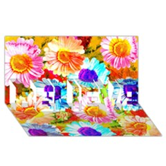 Colorful Daisy Garden Believe 3d Greeting Card (8x4) by DanaeStudio