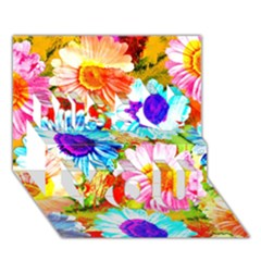 Colorful Daisy Garden Miss You 3d Greeting Card (7x5) by DanaeStudio