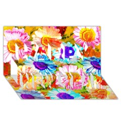 Colorful Daisy Garden Happy New Year 3d Greeting Card (8x4) by DanaeStudio