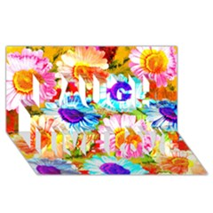 Colorful Daisy Garden Laugh Live Love 3d Greeting Card (8x4) by DanaeStudio