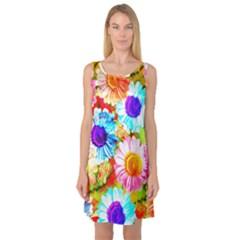 Colorful Daisy Garden Sleeveless Satin Nightdress by DanaeStudio