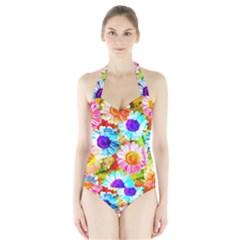 Colorful Daisy Garden Halter Swimsuit by DanaeStudio