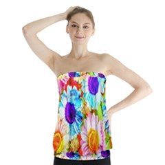 Colorful Daisy Garden Strapless Top by DanaeStudio
