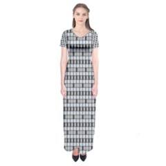 Pattern Grid Squares Texture  Short Sleeve Maxi Dress