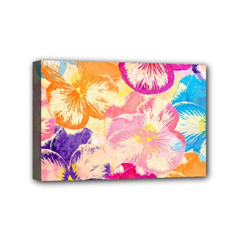 Colorful Pansies Field Mini Canvas 6  X 4  by DanaeStudio