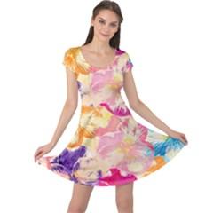 Colorful Pansies Field Cap Sleeve Dresses by DanaeStudio