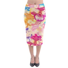 Colorful Pansies Field Midi Pencil Skirt by DanaeStudio