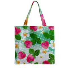 Cute Strawberries Pattern Grocery Tote Bag by DanaeStudio
