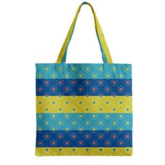 Hexagon And Stripes Pattern Grocery Tote Bag by DanaeStudio