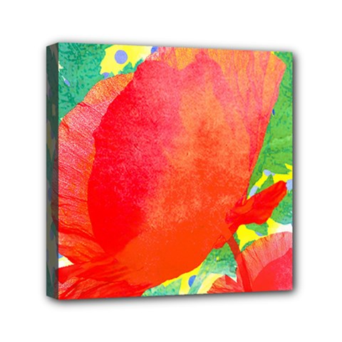 Lovely Red Poppy And Blue Dots Mini Canvas 6  X 6  by DanaeStudio