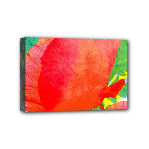 Lovely Red Poppy And Blue Dots Mini Canvas 6  X 4  by DanaeStudio
