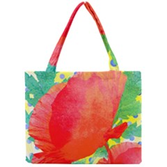 Lovely Red Poppy And Blue Dots Mini Tote Bag by DanaeStudio