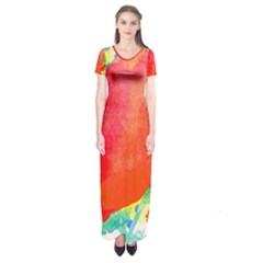Lovely Red Poppy And Blue Dots Short Sleeve Maxi Dress by DanaeStudio