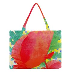 Lovely Red Poppy And Blue Dots Medium Tote Bag by DanaeStudio