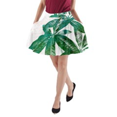 Pachira Leaves  A Line Pocket Skirt by DanaeStudio