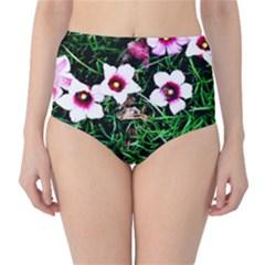 Pink Flowers Over A Green Grass High Waist Bikini Bottoms by DanaeStudio