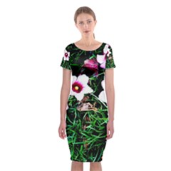 Pink Flowers Over A Green Grass Classic Short Sleeve Midi Dress by DanaeStudio