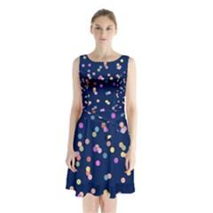 Playful Confetti Sleeveless Chiffon Waist Tie Dress by DanaeStudio