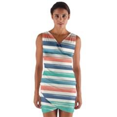 Summer Mood Striped Pattern Wrap Front Bodycon Dress by DanaeStudio