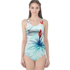 Tillansia Flowers Pattern One Piece Swimsuit by DanaeStudio