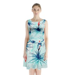 Tillansia Flowers Pattern Sleeveless Chiffon Waist Tie Dress by DanaeStudio