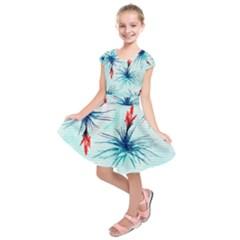 Tillansia Flowers Pattern Kids  Short Sleeve Dress by DanaeStudio