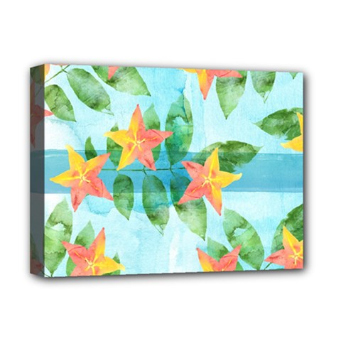 Tropical Starfruit Pattern Deluxe Canvas 16  X 12   by DanaeStudio