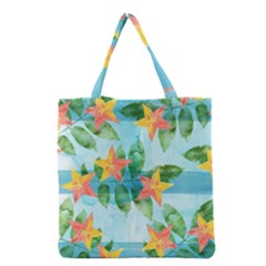 Tropical Starfruit Pattern Grocery Tote Bag by DanaeStudio