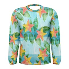 Tropical Starfruit Pattern Men s Long Sleeve Tee by DanaeStudio