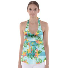 Tropical Starfruit Pattern Babydoll Tankini Top