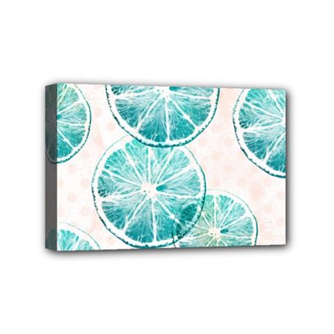 Turquoise Citrus And Dots Mini Canvas 6  X 4  by DanaeStudio