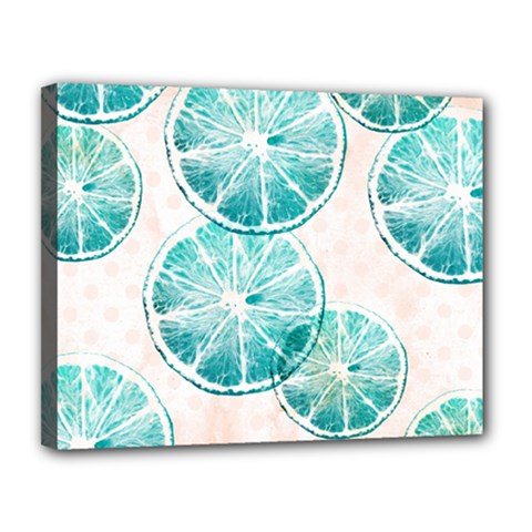 Turquoise Citrus And Dots Canvas 14  X 11  by DanaeStudio