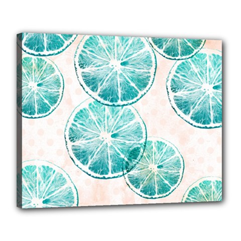 Turquoise Citrus And Dots Canvas 20  X 16  by DanaeStudio