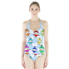 Cute Colorful Birds  Halter Swimsuit by Valentinaart