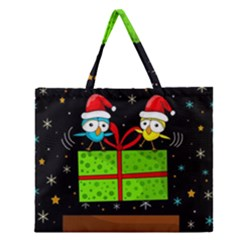 Cute Christmas Birds Zipper Large Tote Bag by Valentinaart