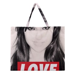 Sasha Grey Love Zipper Large Tote Bag by Onesevenart