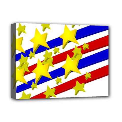 Flag Ransparent Cartoon American Deluxe Canvas 16  X 12   by Onesevenart