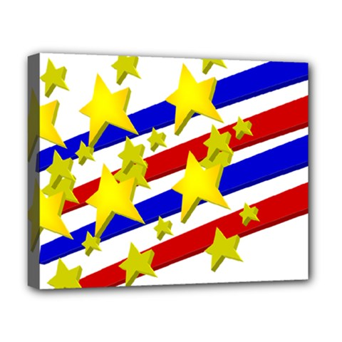 Flag Ransparent Cartoon American Deluxe Canvas 20  X 16   by Onesevenart
