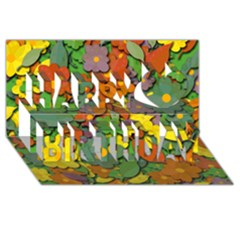 Decorative Flowers Happy Birthday 3d Greeting Card (8x4) by Valentinaart