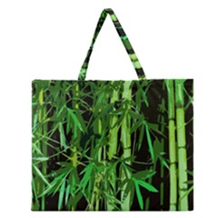 Bamboo Pattern Tree Zipper Large Tote Bag by AnjaniArt