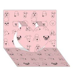 Dog Pink Heart 3d Greeting Card (7x5) by AnjaniArt