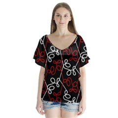 Elegant Red And White Pattern Flutter Sleeve Top