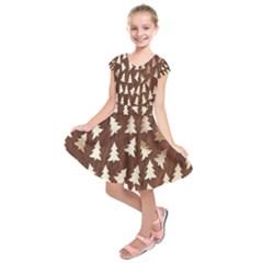 Gold Tree Background Kids  Short Sleeve Dress by AnjaniArt