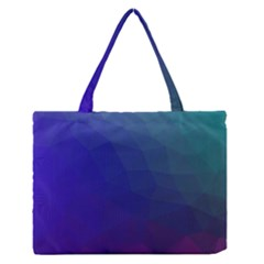 Polyart Dark Blue Purple Pattern Medium Zipper Tote Bag by AnjaniArt