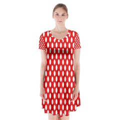 Red Circular Pattern Short Sleeve V Neck Flare Dress by AnjaniArt