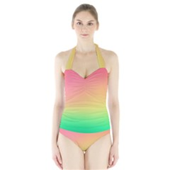 The Walls Pink Green Yellow Halter Swimsuit by AnjaniArt