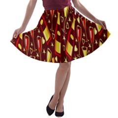Wine Glass Drink Party A Line Skater Skirt by AnjaniArt
